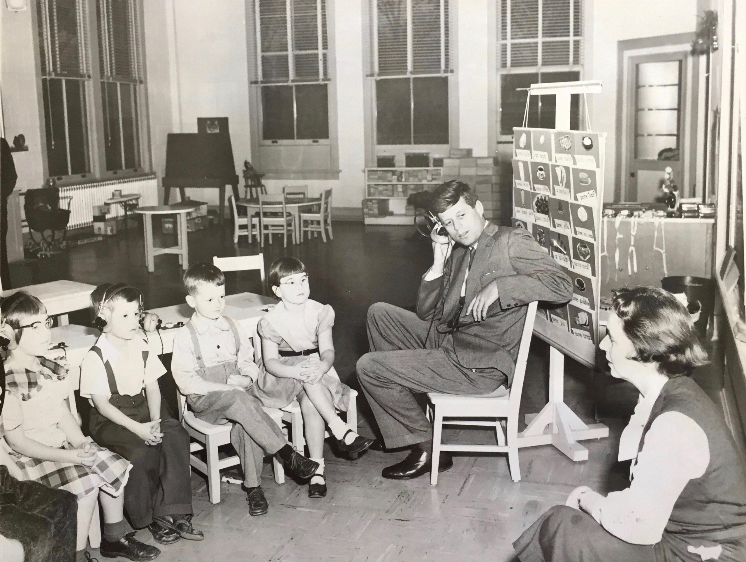 JFK with children