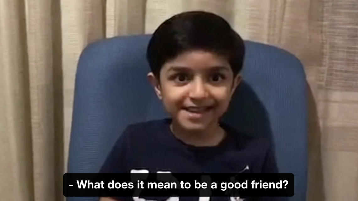 child with hearing loss talking